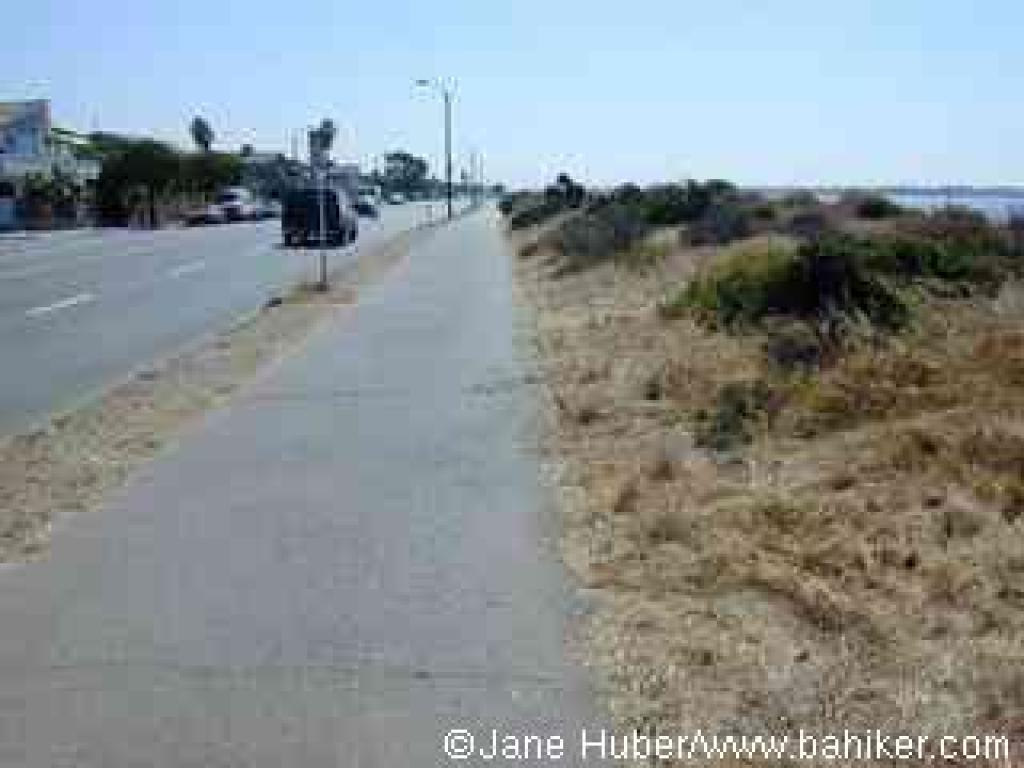 Paved trail along the beach